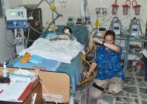 Typical pediatric ICU patient room